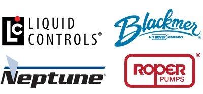 Logos for Liquid Controls, Blackmer, Neptune, and Roper Pumps
