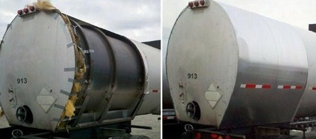 Cleaning transport tank before and after